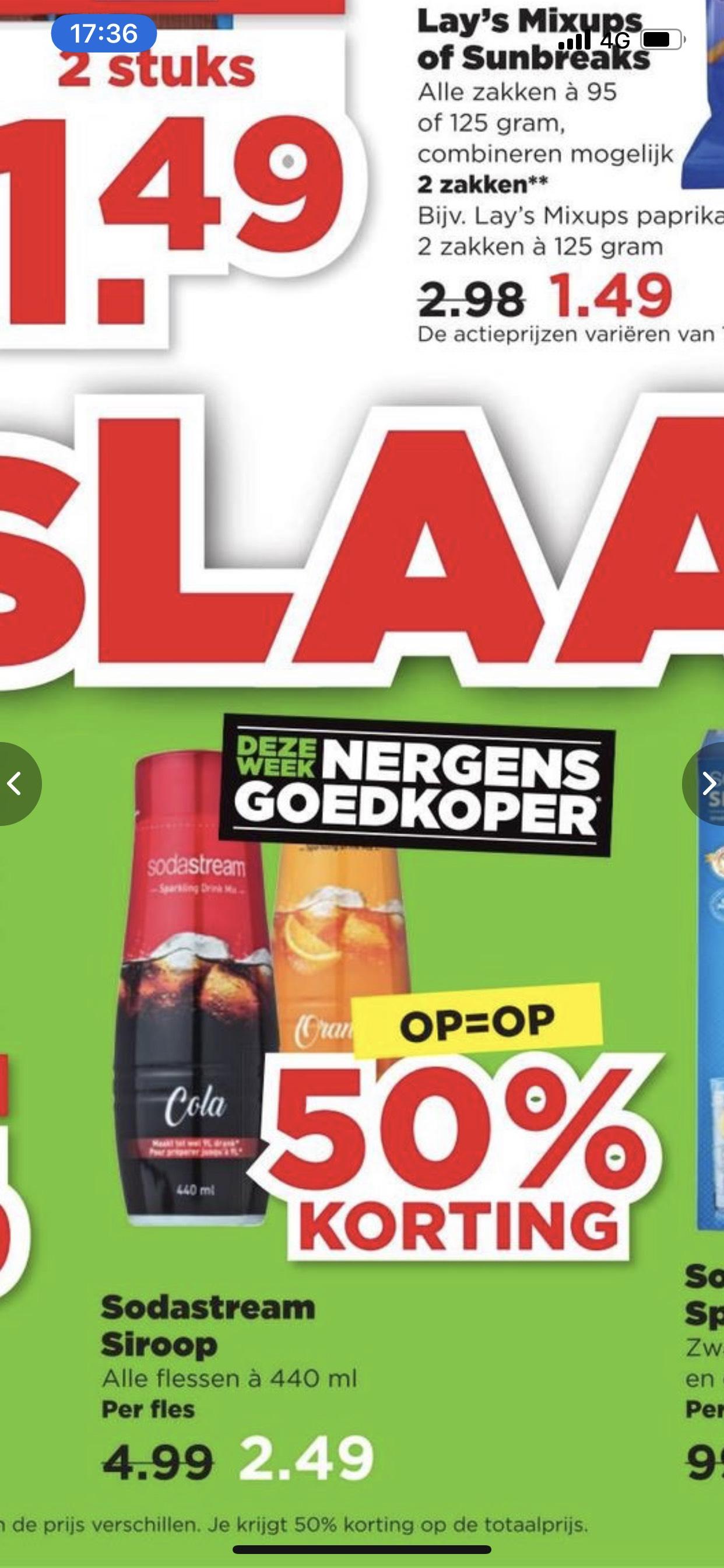 Sodastream siropen 50% korting @ Plus