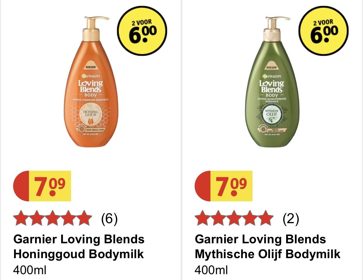 Garnier Loving Blends Bodymilk 2 voor €6 (ipv €14,18) + GRATIS Bolsius Geurkaars t.w.v. €2,99 @ Kruidvat