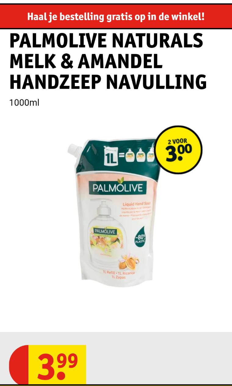 Palmolive handzeep 2liter voor 3 euro