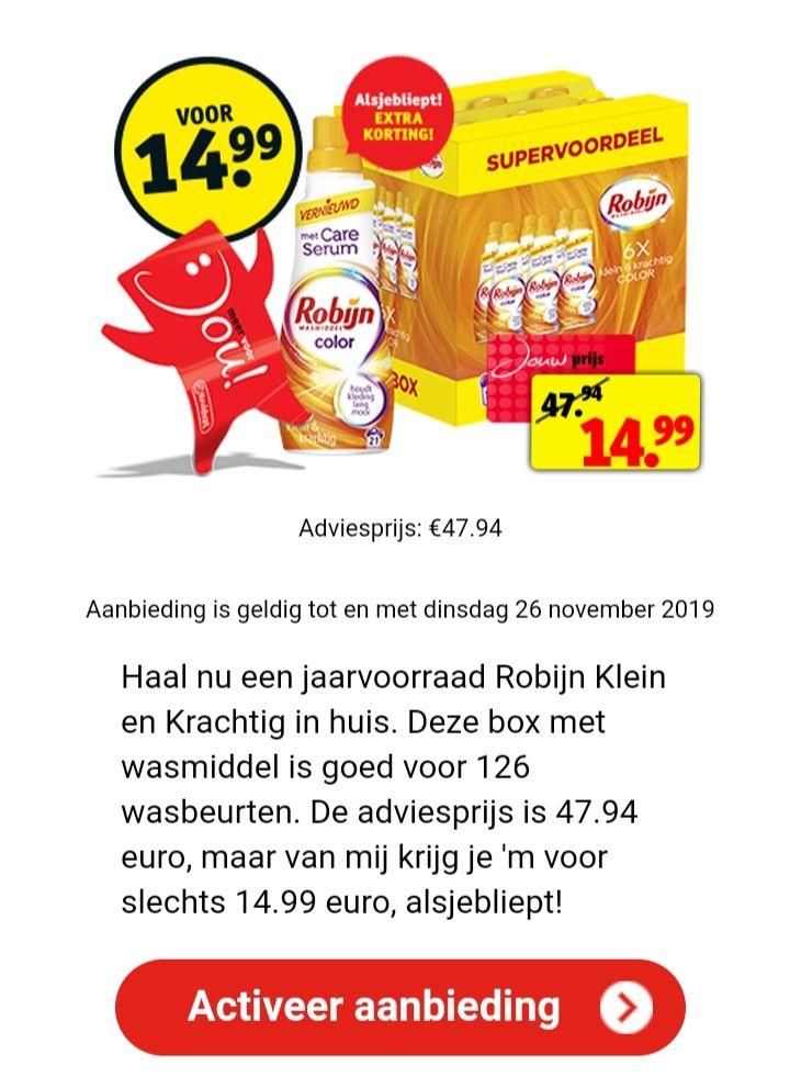 Robijn Dagdeal 6x voor €14,99