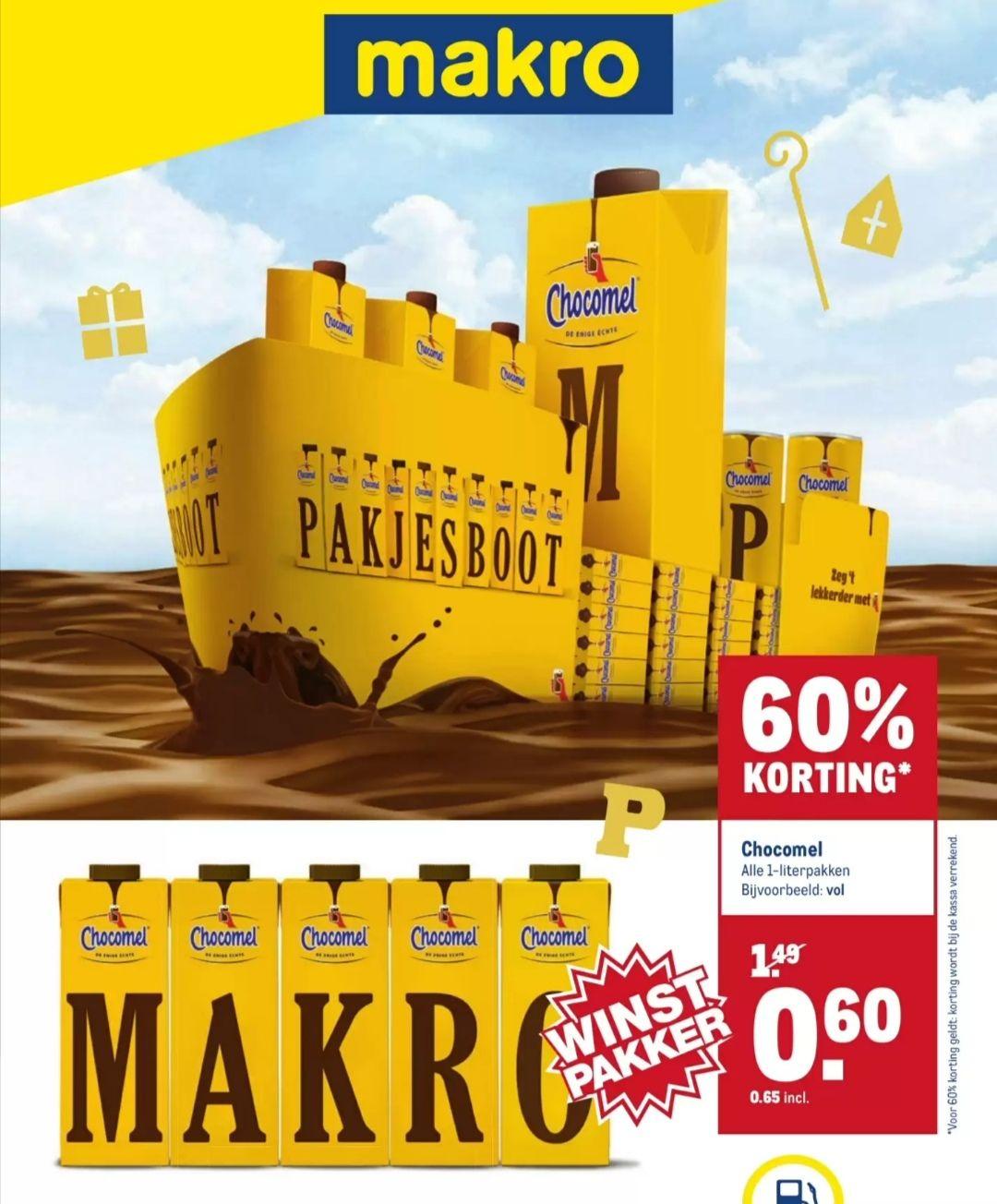 Alle Chocomel 1-literpakken voor €0,65 p.st | v.a. 20 nov @Makro