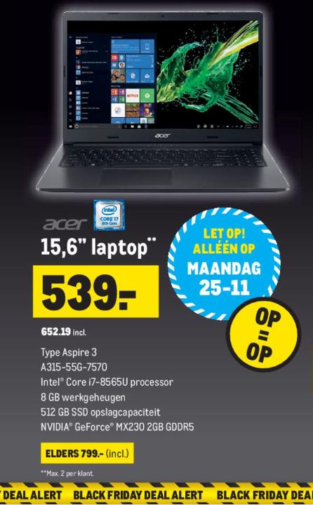 """Black Friday Deal @Makro Acer Aspire 3 15,6"""" Laptop €652,19 elders €799 (max 2 per klant alleen geldig op 25-11)"""