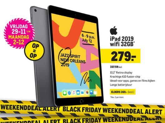 Black Friday Deal @Makro iPad 2019 wifi 32GB voor €337,59 elders €357 (geldig van 29-11 t/m 2-12)