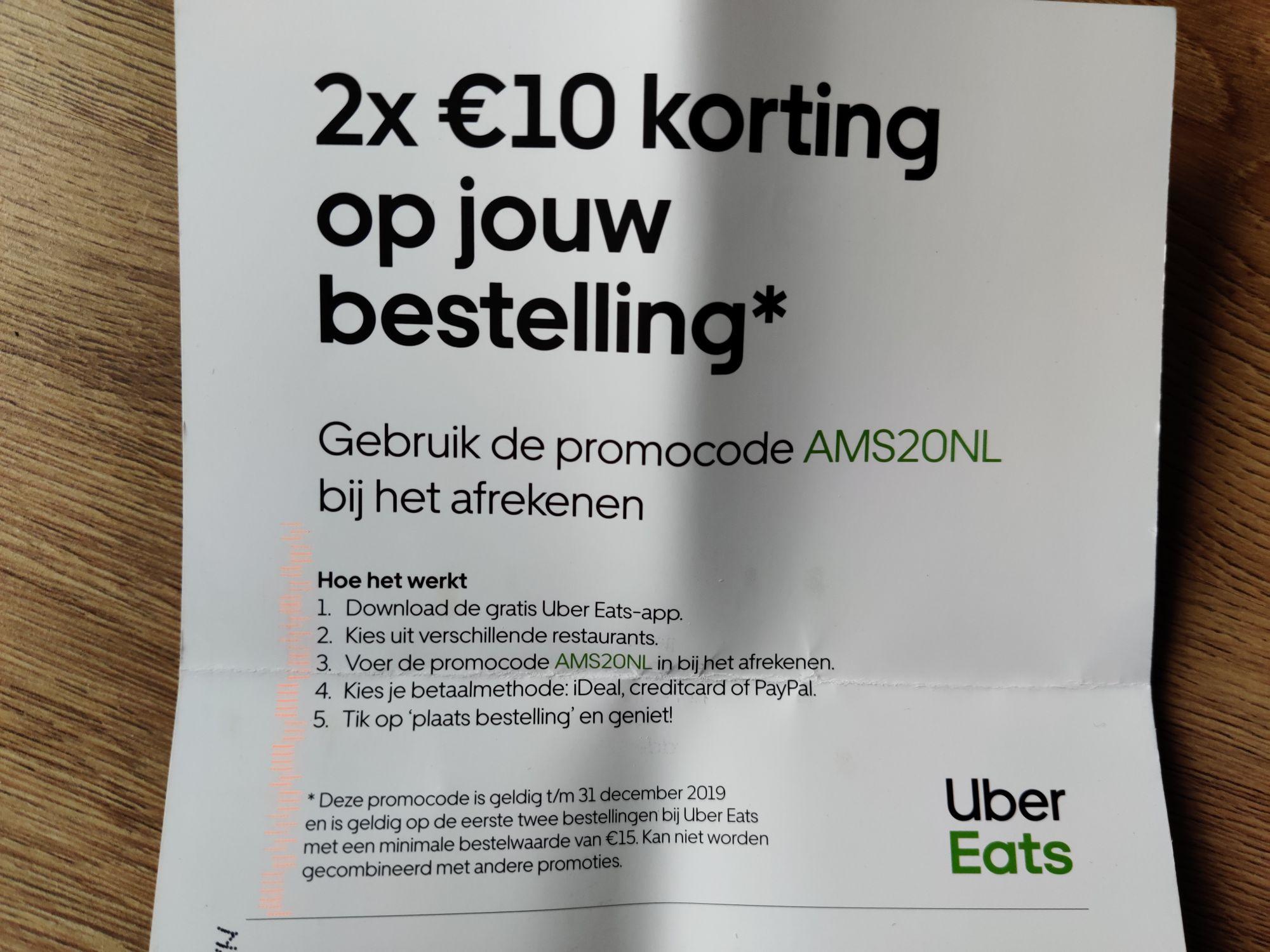 Uber eats 2x 10 euro korting bij minimaal 15 euro