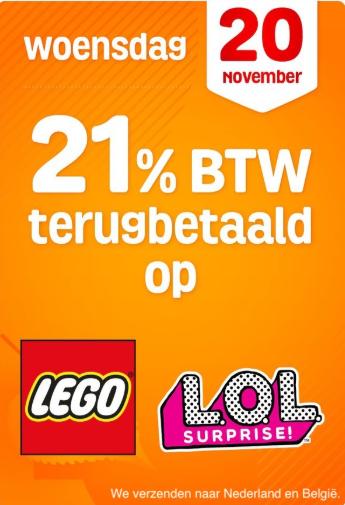 Op alle LEGO en L.O.L Surprise artikelen 21% (17,36%) korting (zie prijsvoorbeelden in post) @Fun.be
