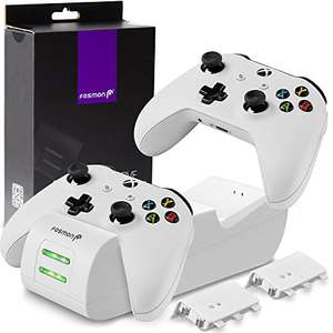 Fosmon Xbox One/One S/One X Controller laadstation, [Dual Slot] LED-docking station snellader en 2 x 1000 mAh accu @ Amazon.de
