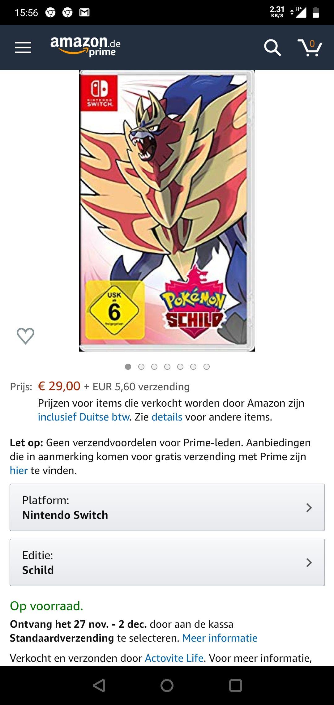 Pokemon shield voor een zeer lage prijs.