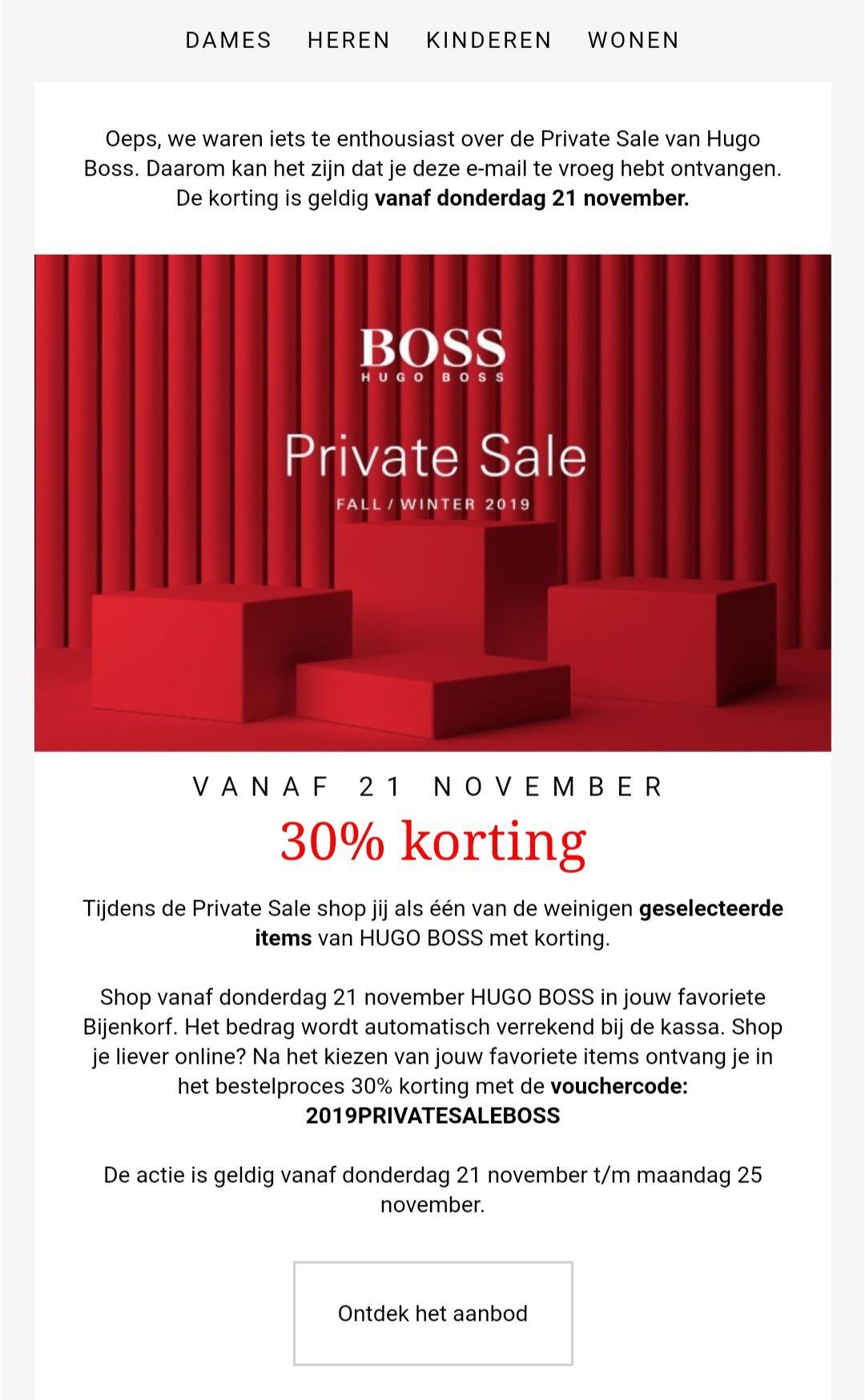 30% korting op private sale van Hugo Boss @ Bijenkorf