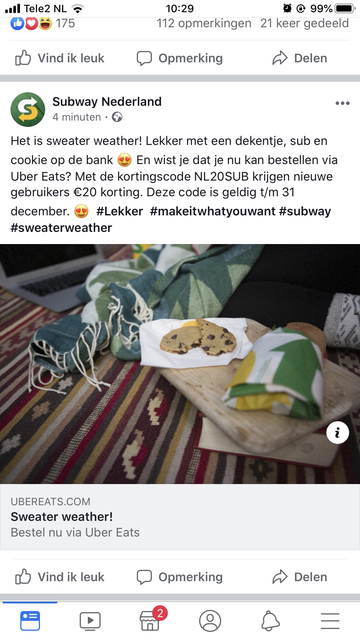 Korting Subway Uber eats (20€)