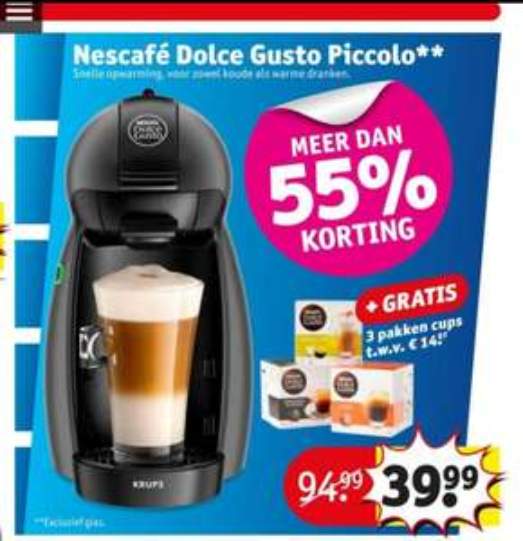 Nescafé Dolce Gusto Piccolo met 3 dozen Cups €39,99 @ Kruidvat