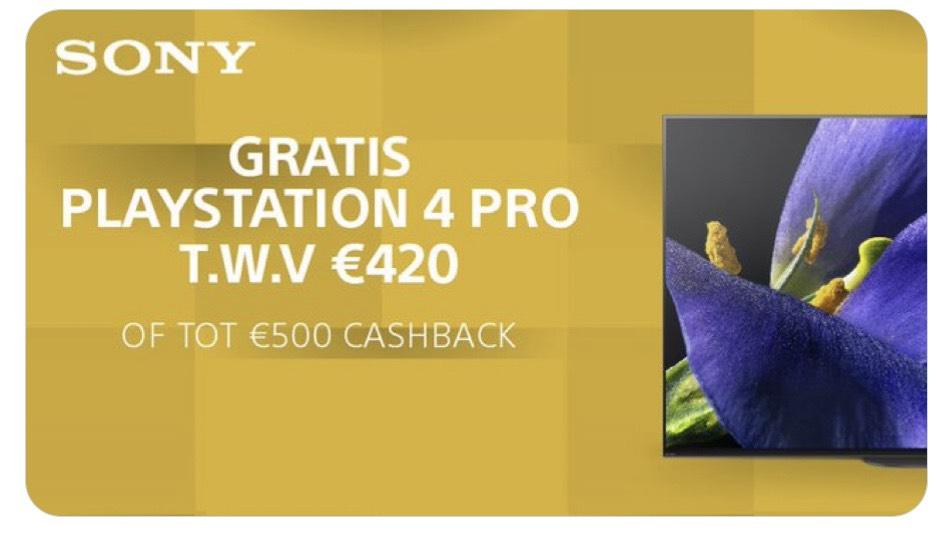 Ontvang een PlayStation 4 Pro of tot wel €500 cashback op geselecteerde modellen BRAVIA televisies.