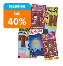 40 % korting bij 4 stuks A-Merk en/of Delicata Chocolade letters (incl. Tony's Chocolonely) @ Albert Heijn