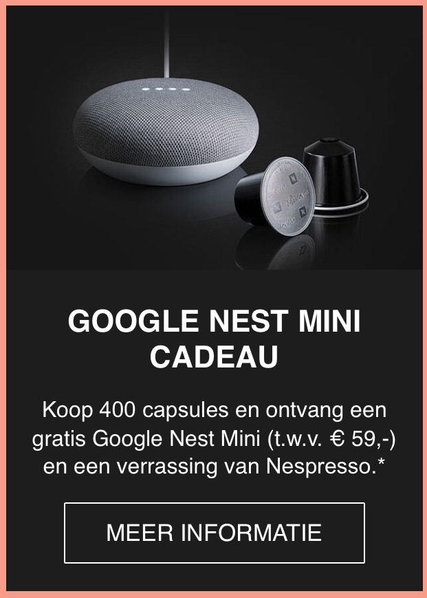 Nespresso Black Friday Deal: Gratis Google Nest Mini bij aankoop van 400 capsules