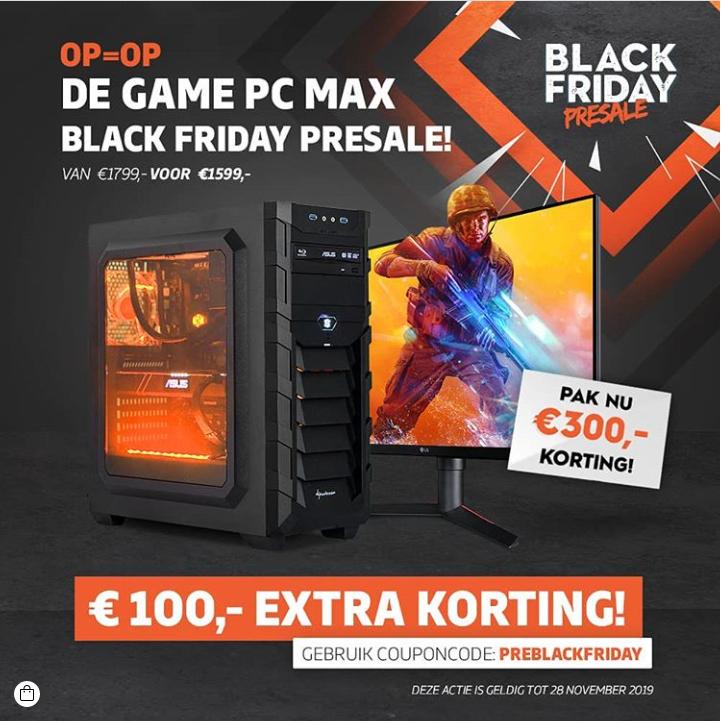 100 euro extra korting op de Game PC Max bij GamePC.nl (Pre Black Friday actie)