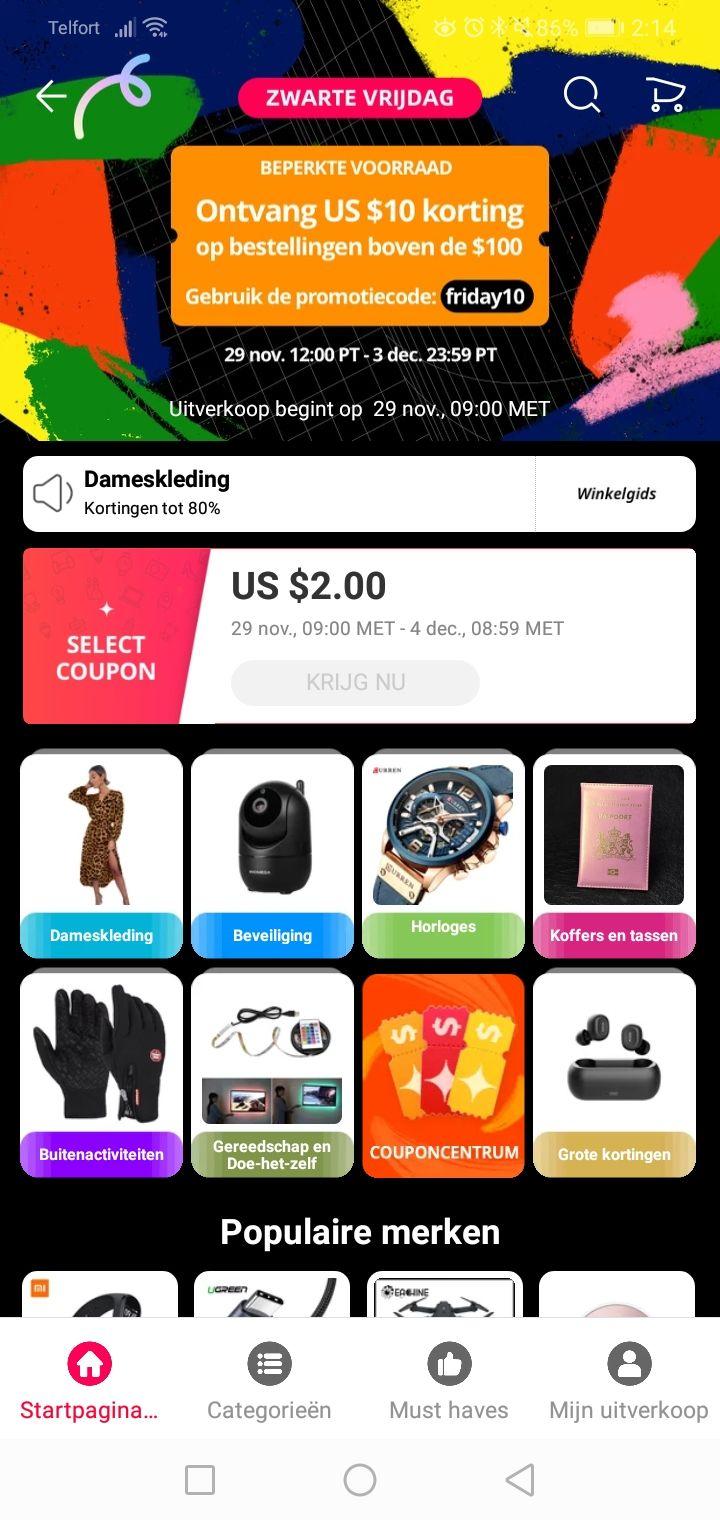 [Black Friday] Aliexpress 10$ korting bij een bestelling vanaf $100