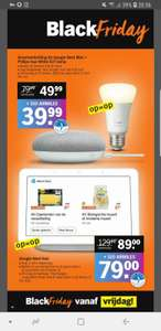 *Black Friday* Google Nest Hub en Google Nest Mini + Philips Hue White E27