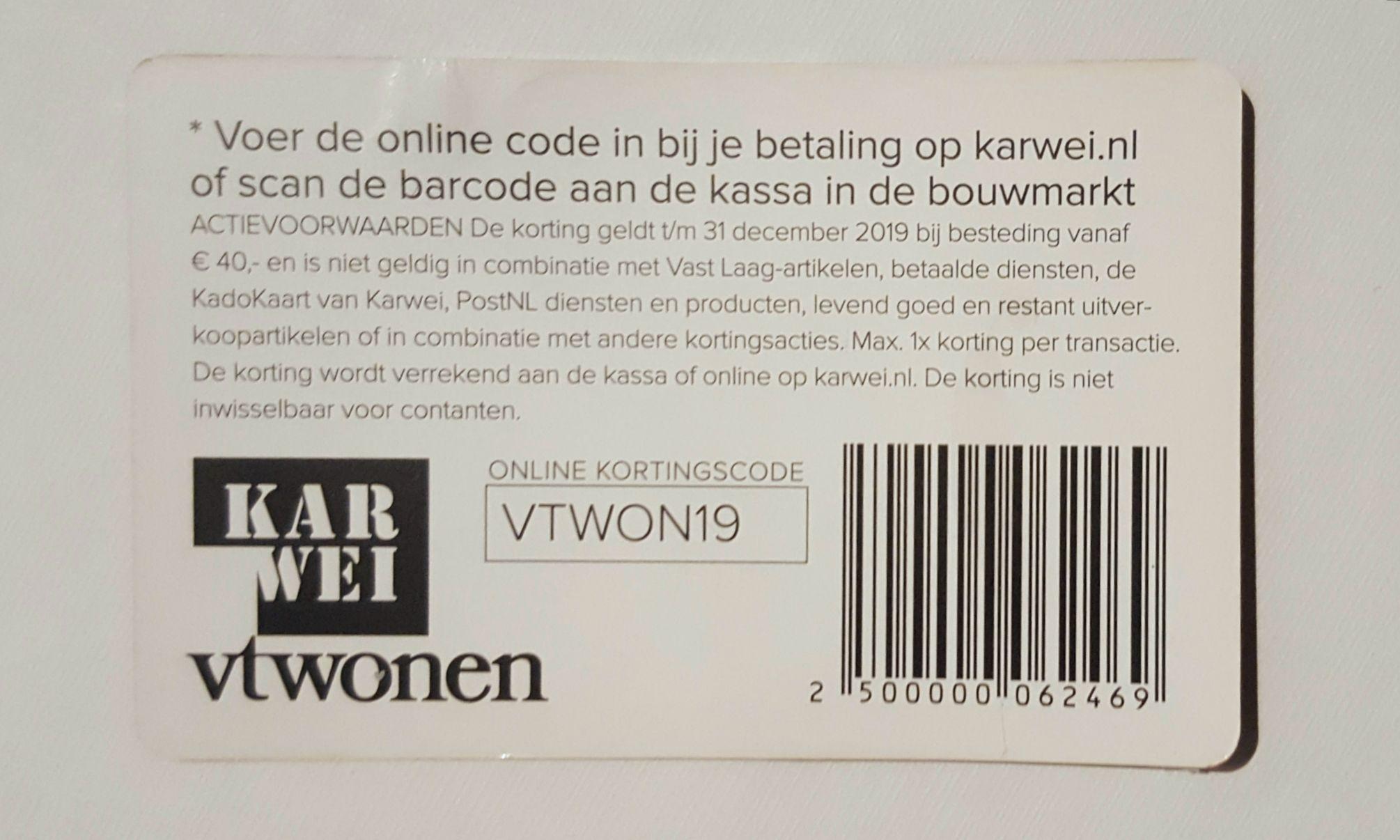 Karwei € 10,- korting bij besteding vanaf € 40,-