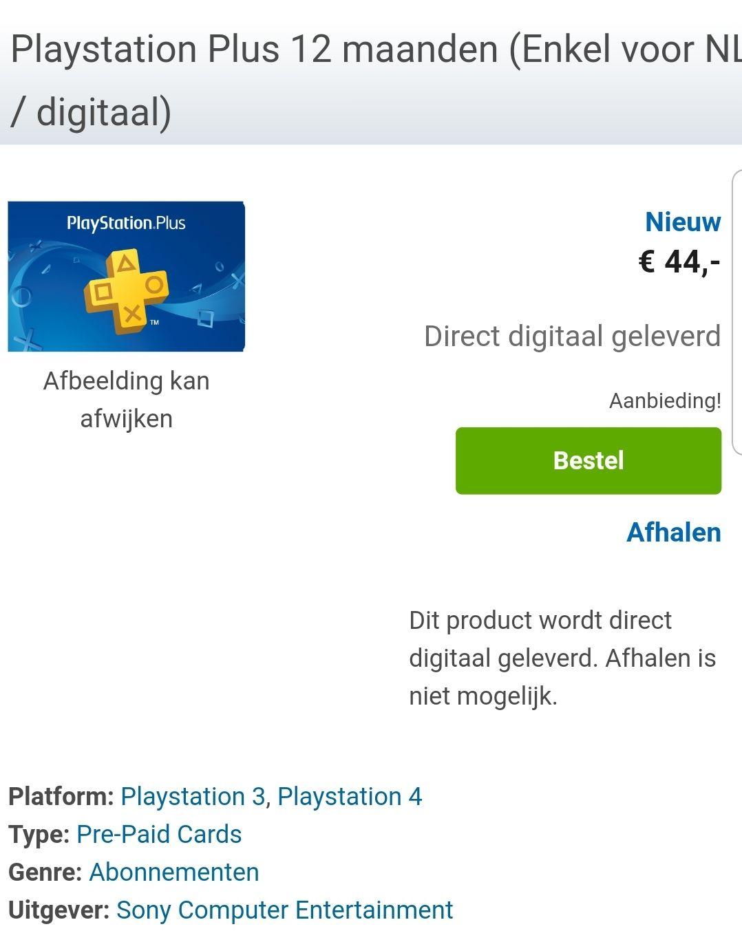 PlayStation plus 12 maanden NL