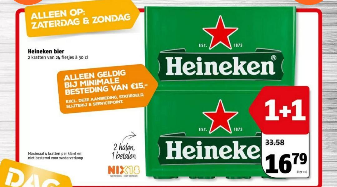 Zaterdag 30 en zondag 1 december Heineken 1+1 gratis bij Poiesz