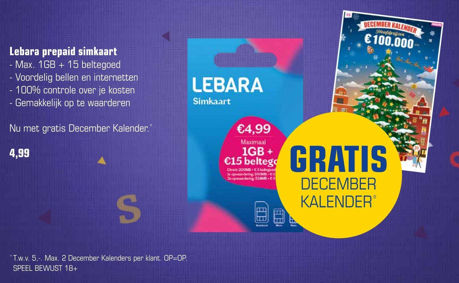 Gratis december kraskalender bij Lebara prepaid simkaart