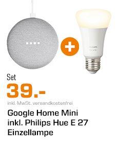 [Grensdeal] Google Home Mini + Hue E27 voor €39,- @Saturn