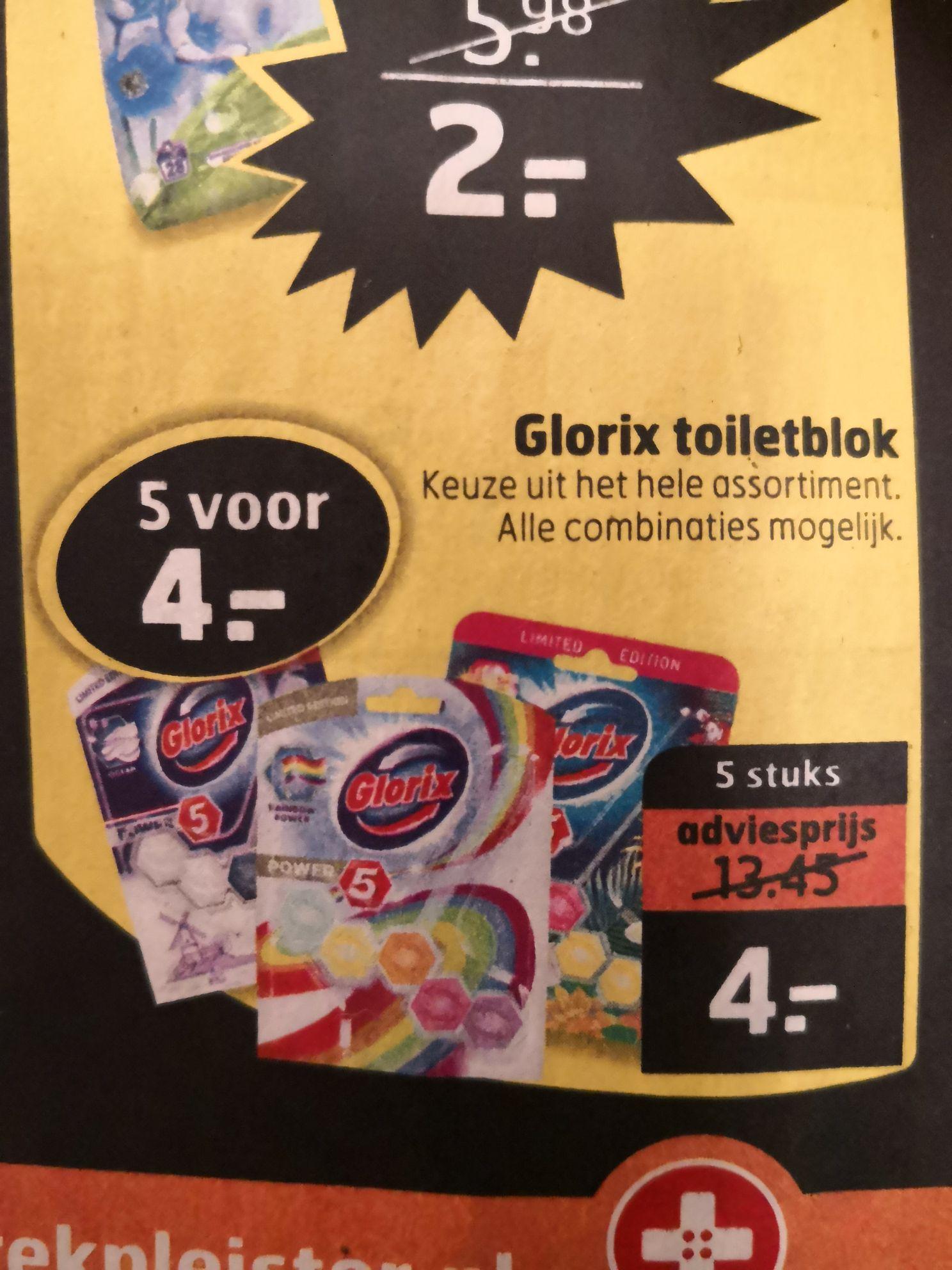 Glorix toiletblokken 5 voor €4 (0,80€/st)
