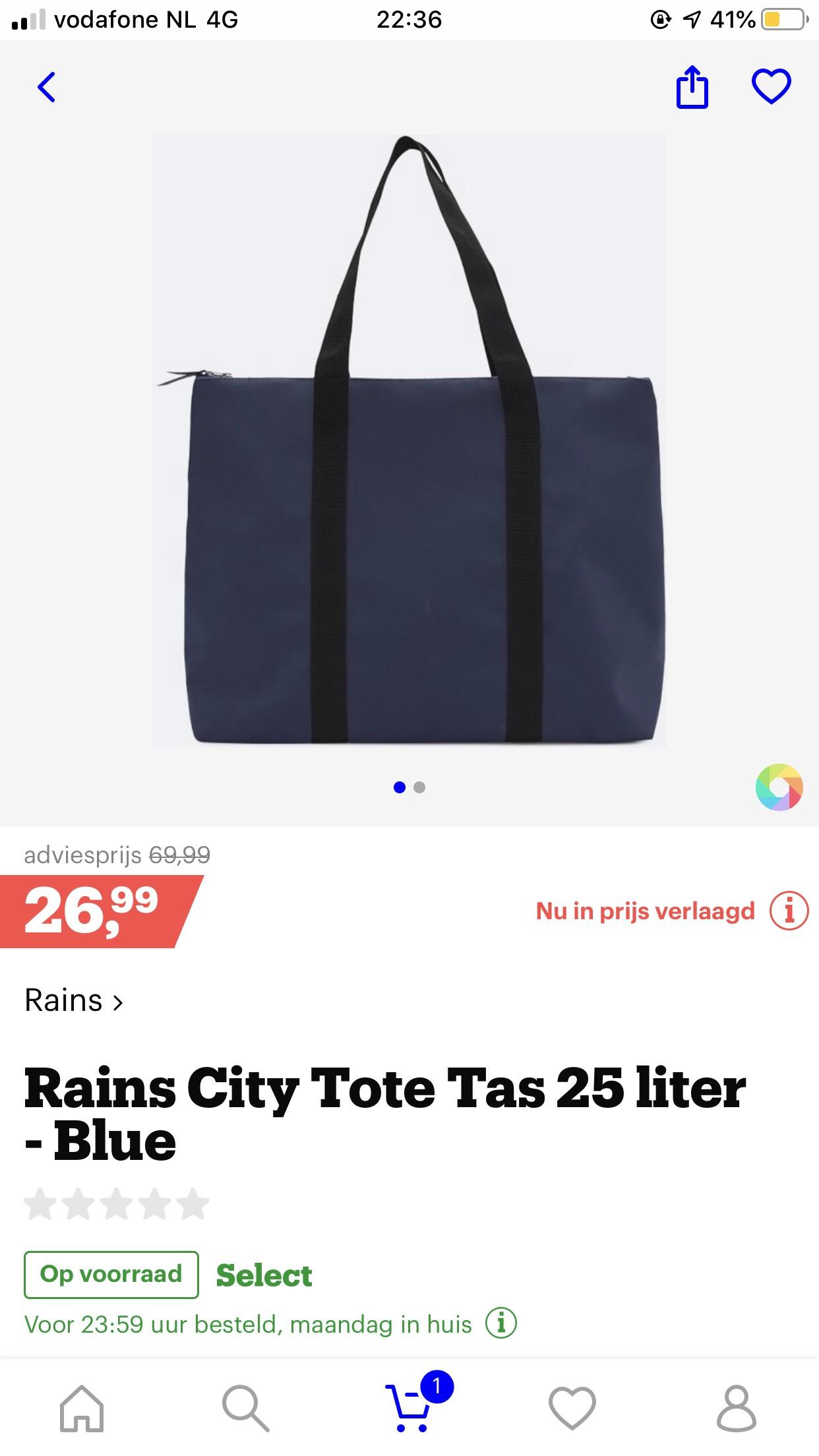 Rains tas van €70 voor €27 @ bol.com