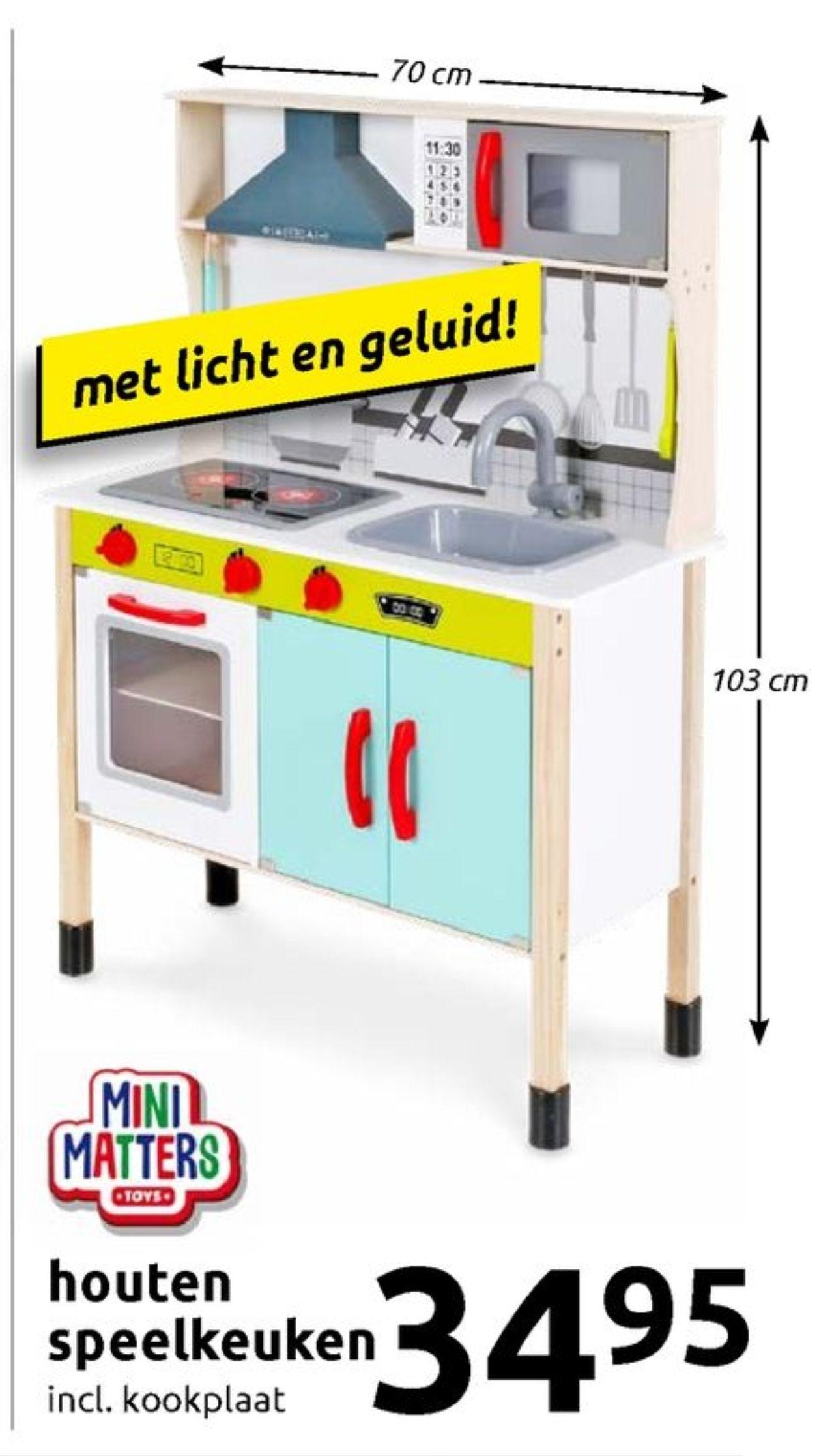 Houten speelkeuken incl. Kookplaat (action)