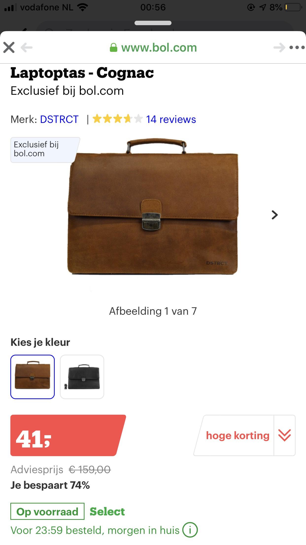 Leren aktetas/laptoptas 15.6 inch van €159 voor €41 @ bol.com
