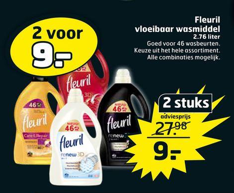 Black Friday: Fleuril (2.76 liter per fles) wasmiddel. 2 voor €9,- bij Trekpleister