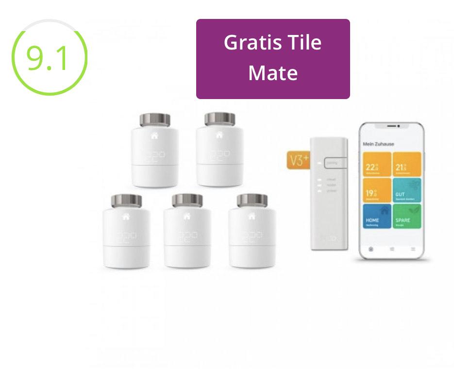Tado V3 starter kit met 5 radiotorknoppen & gratis Tile mate