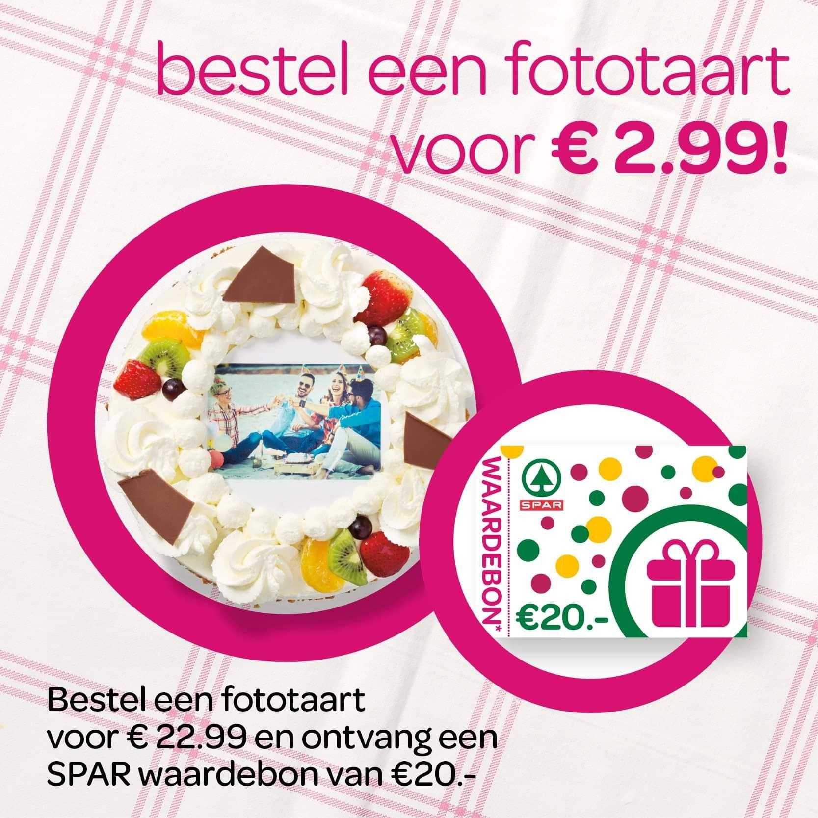 €20 euro shoptegoed bij fototaart (10-12 personen) á €22,99 [LOKAAL Rotterdam]