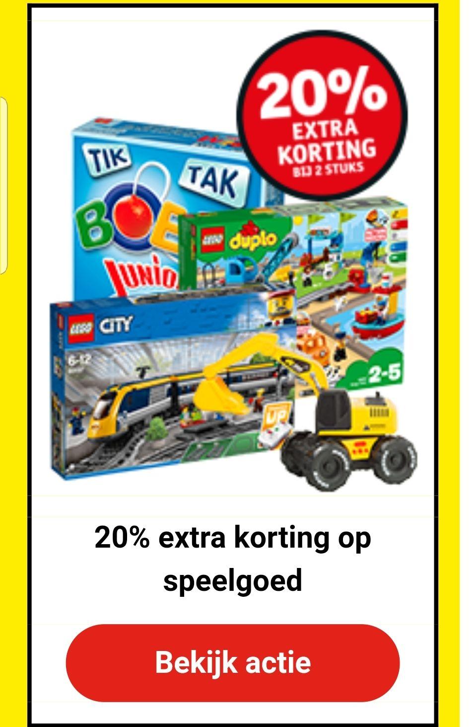 Vandaag 20% korting op alle speelgoed bij afname van 2 stuks Kruidvat