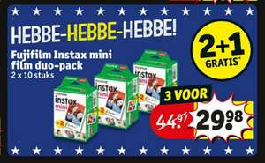 2+1 gratis op Fujifilm Instax mini film duo-packs