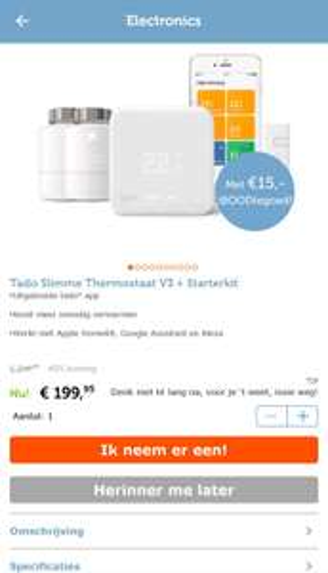 Tado Slimme Thermostaat V3 + Starterkit met 2 radiatorknoppen + €15 shoptegoed @ iBood
