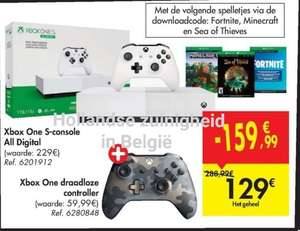 (Grensdeal BE) Xbox One S all digital + 3 games + extra controller + 20 euro aankoopbon