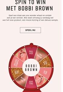 BOBBI BROWN: -20%, -15% KORTING, GRATIS FULL SIZE LIPSTICK OF MINI