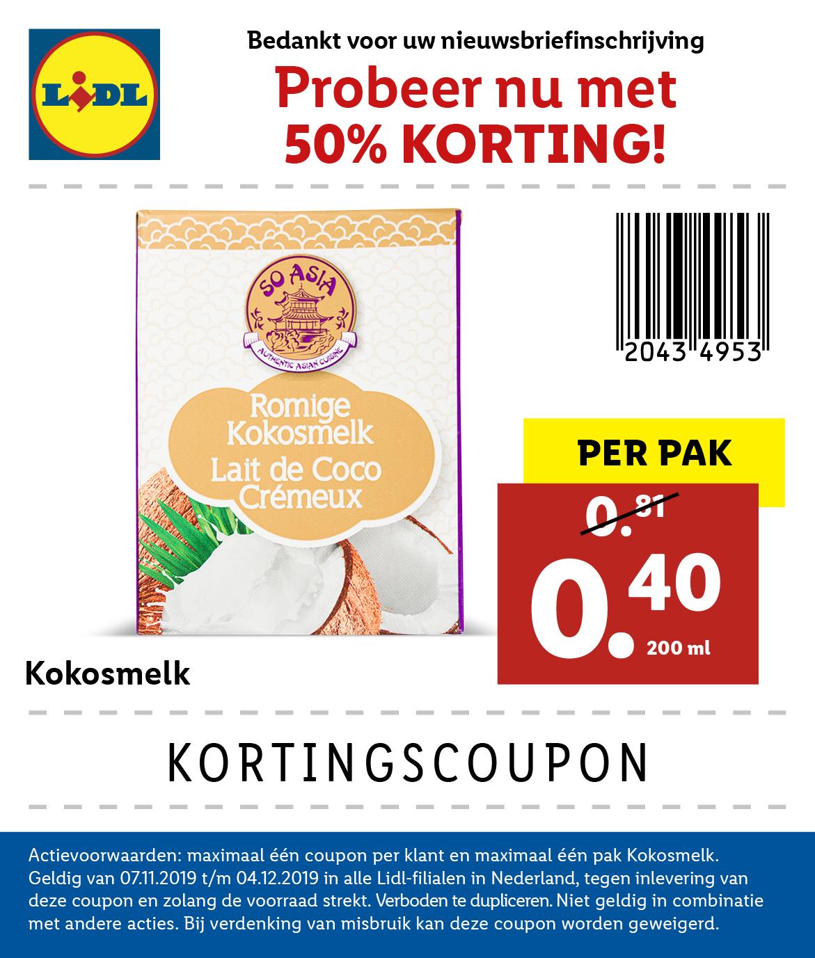 Coupon Kokosmelk 50% @Lidl