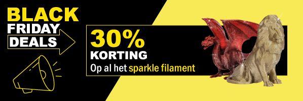 30% korting op al het sparkle filament bij 123-3d.nl