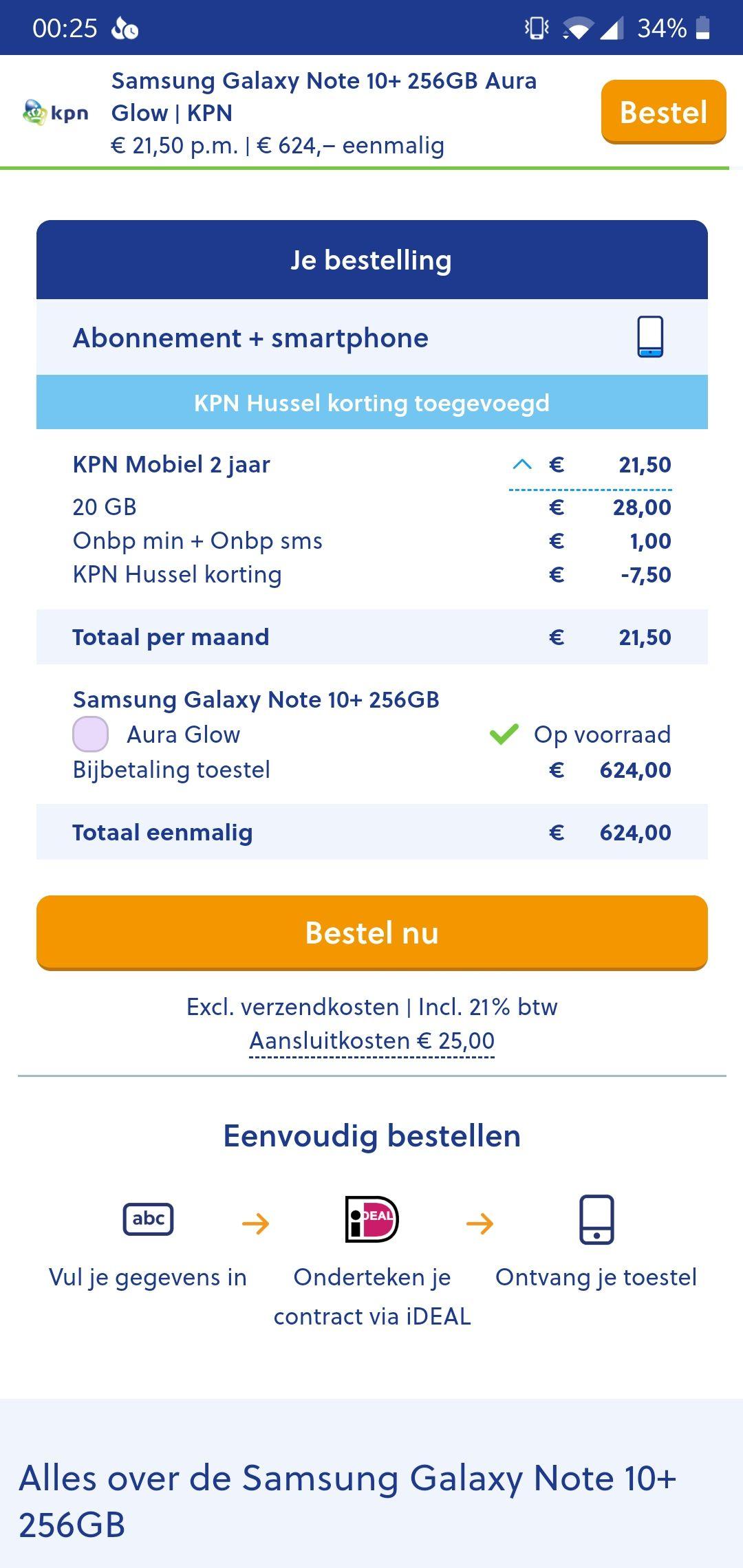 Samsung Galaxy Note 10+ €624 icm nieuw KPN abonnement