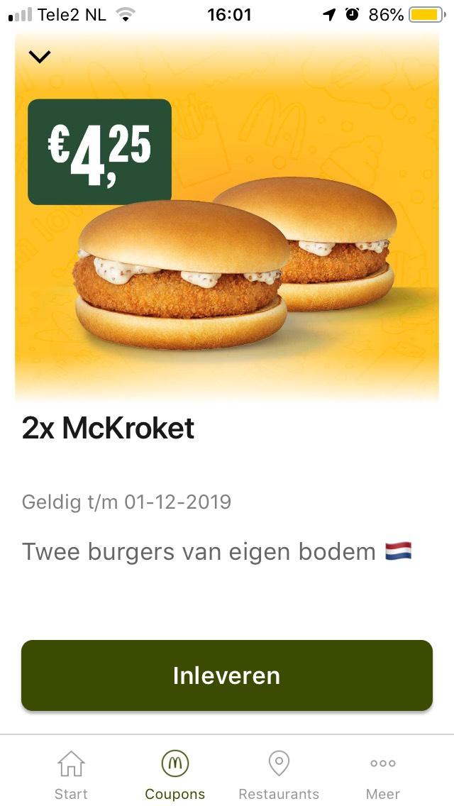 Nieuwe McDonald's codes, bijvoorbeeld €1,35 korting op 2*McKroket