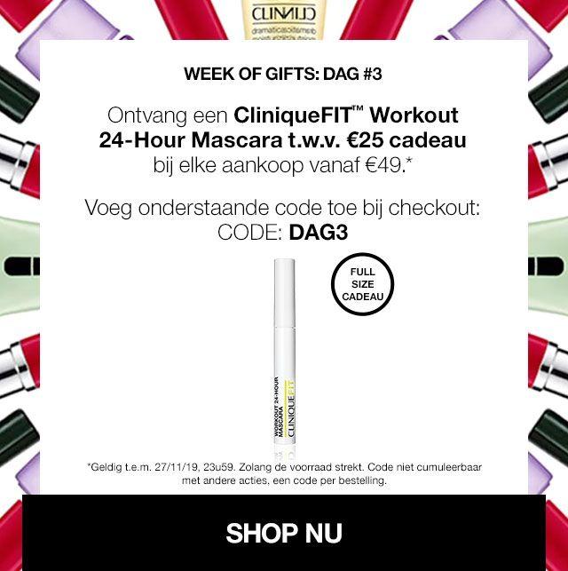 Gratis Clinique mascara bij besteding vanaf 49 euro