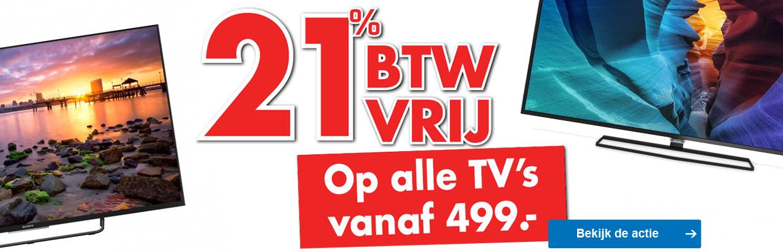 21% BTW vrij op televisies vanaf € 499 @ Scheer en Foppen