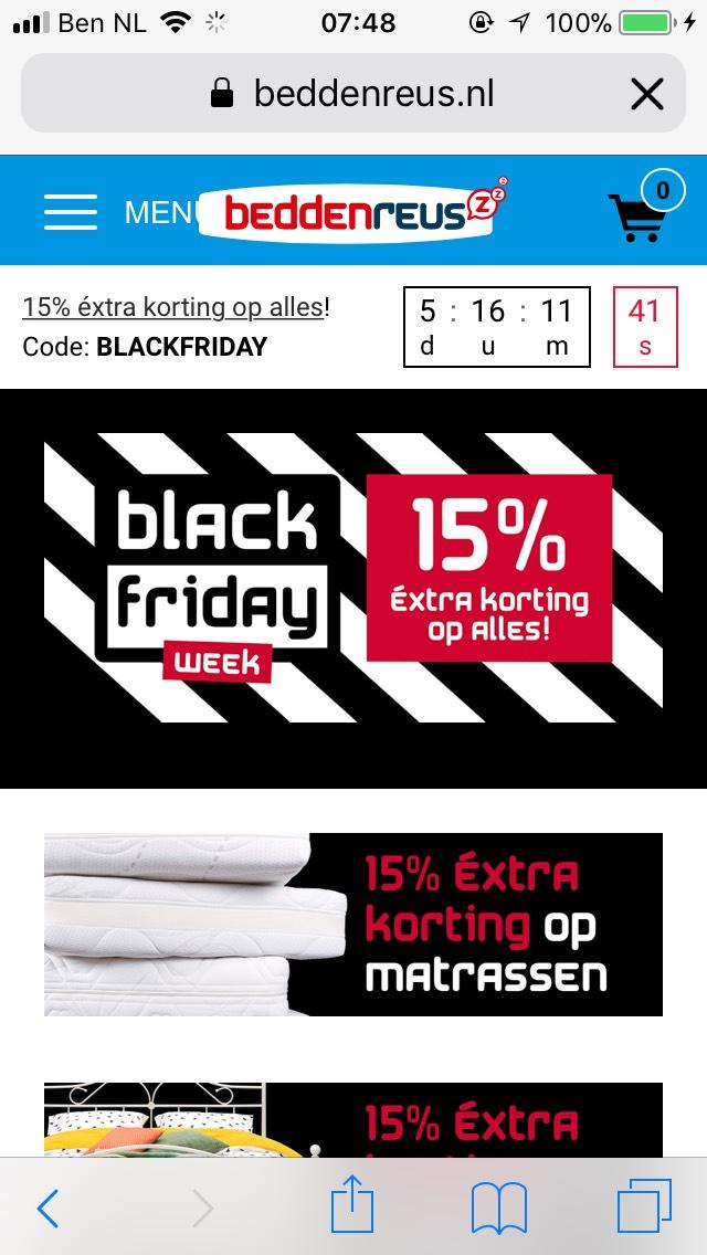 Black Friday @ Beddenreus: 15% op dekbedovertrekken, hoeslakens, matrassen & meer