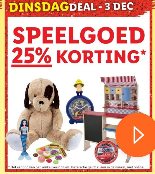 Dagactie 3 december 25% korting speelgoed , Lidl
