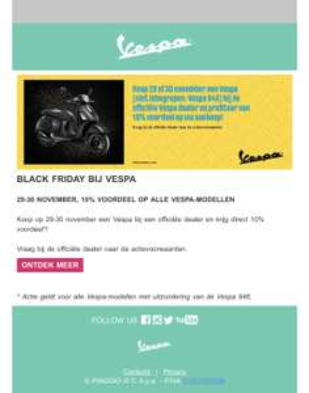 10% Black Friday korting bij Vespa