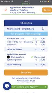 Iphone XR icm Vodafone abonnement van €18,- p/m