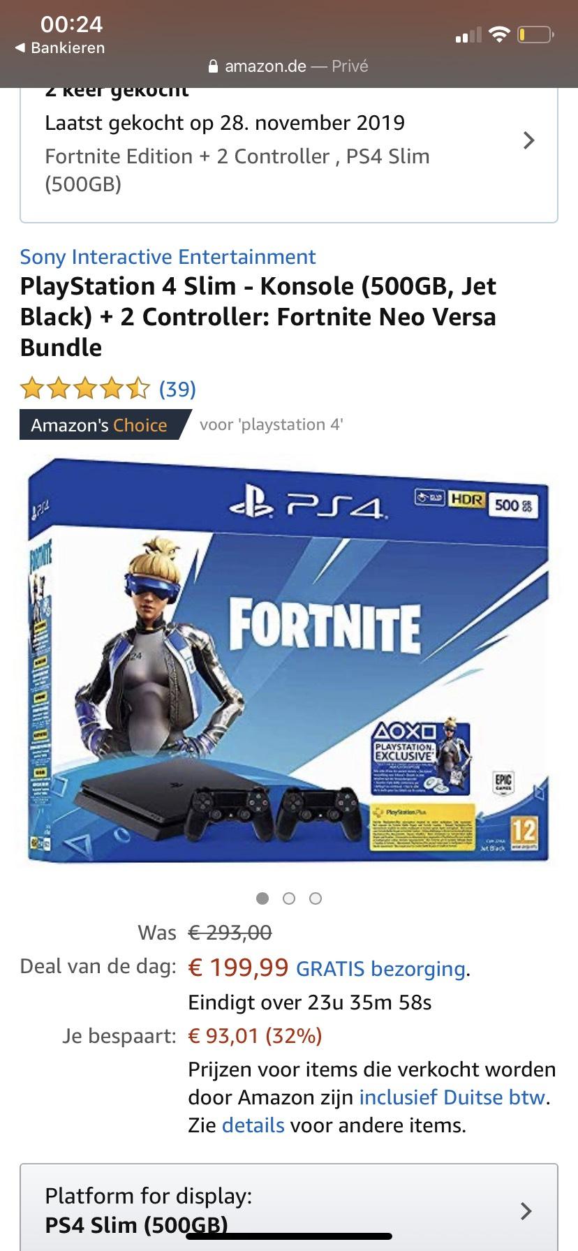 (Weer beschikbaar)Playstation 4 slim 500GB met 2 controllers en Fortnite Neo Versa Bundle (PS4)