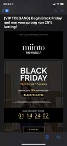 Minto 25% op alles, ook over sale items