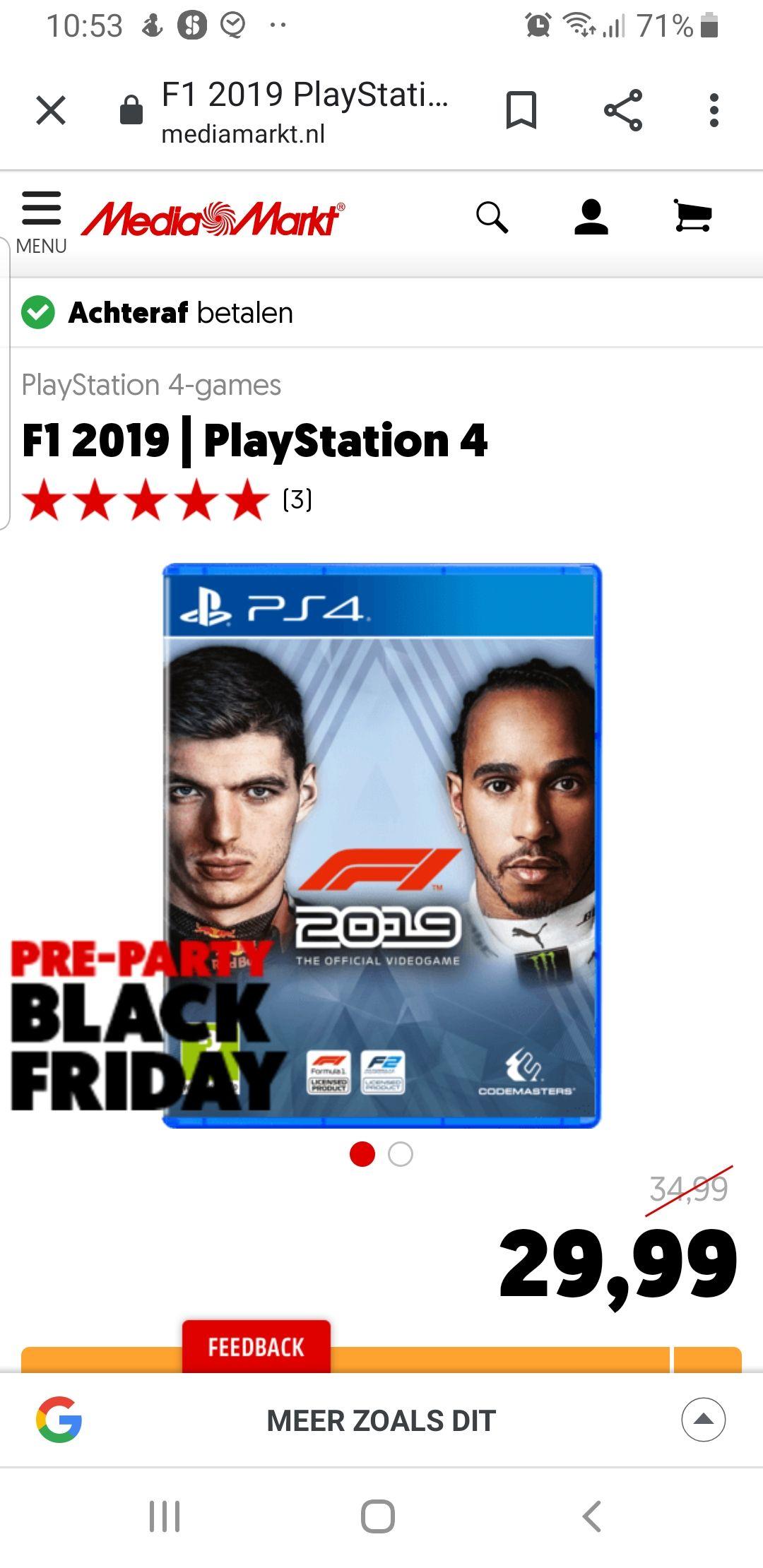 Media Markt Black Friday PS4 Deal: F1 2019 | PlayStation 4